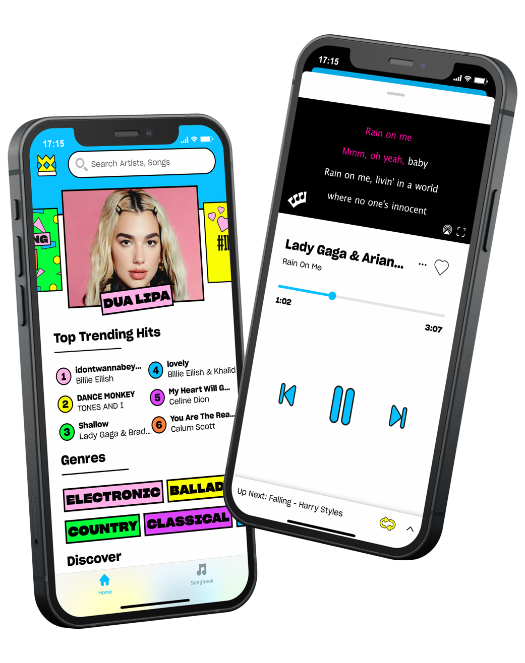 Screenshot of karaoke on the Sing King app with Dua Lipa as a trending hit and Lady Gaga's song with Ariana Grande