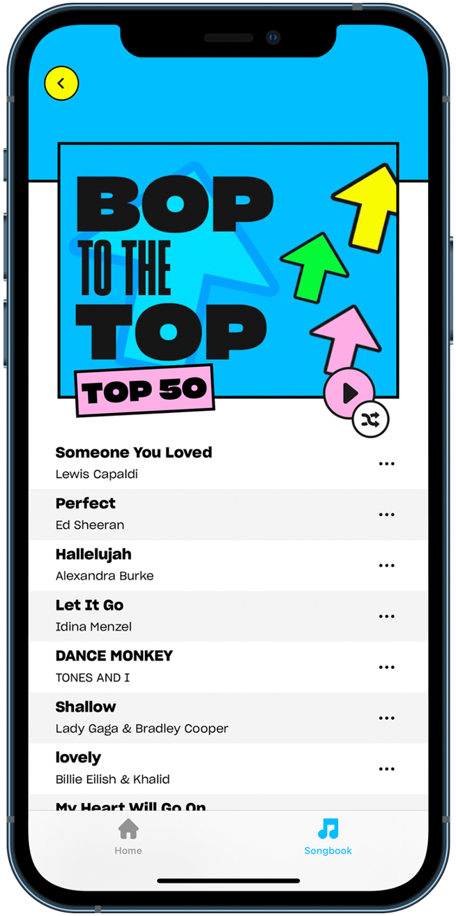 Screenshot of karaoke on the Sing King app using a playlist called Bop to the Top